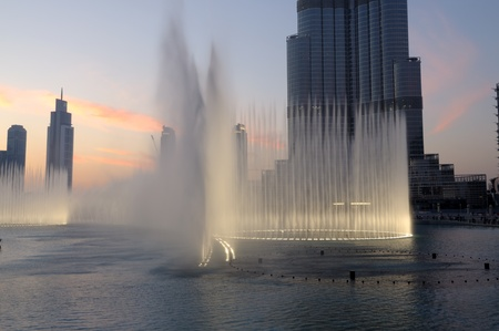 The Dubai Fountain at Burj Khalifa in Dubai, United Arab Emirates. Photo taken at 18th of January 2010