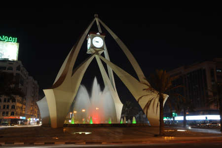 roundabout: Tower Clock Roundabout in Dubai, United Arab Emirates. Photo taken at 29th of January 2010 Editorial