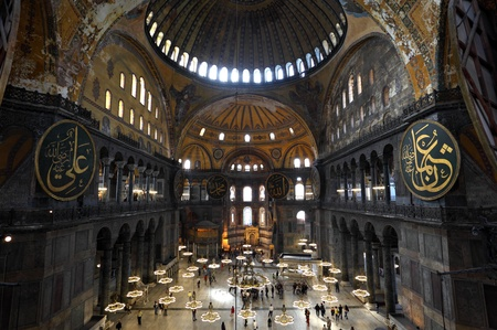 hagia: Inside of the Hagia Sophia Mosque in Istanbul, Turkey. Photo taken on 21st of Mai 2011 Editorial