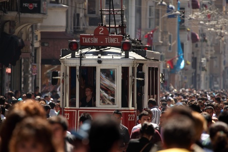 Old tram on Istiklal Caddesi Street in Istanbul, Turkey. Photo taken on 22nd of Mai 2011 Editorial