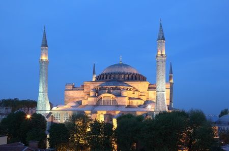 hagia sophia: Hagia Sophia mosque illuminated at night. Istanbul Turkey