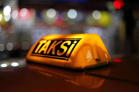constantinople: Yellow sign of the Istanbul taxi, Turkey