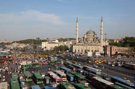 Bus station and the New Mosque in Istanbul, Turkey. Photo taken at 24th of Mai 2011