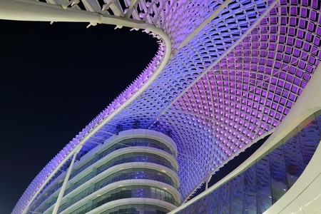 marina: The Yas Marina Hotel illuminated at night, Abu Dhabi