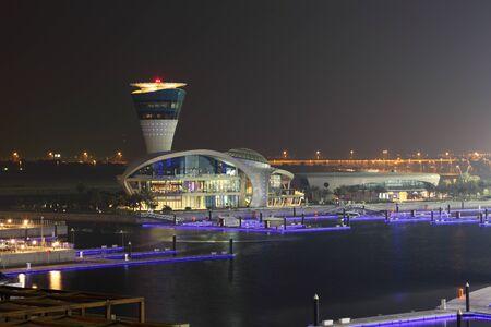 gcc: Yas Marina in Abu Dhabi illuminated at night. United Arab Emirates Editorial