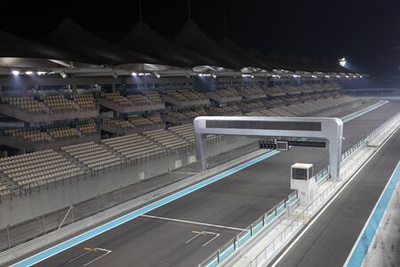 formula one: Yas Marina Formula One Circuit Racing Track in Abu Dhabi, United Arab Emirates Editorial