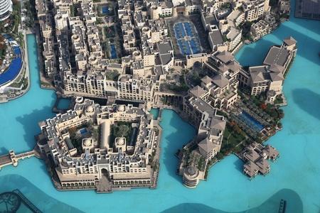 Verenigde Arabische Emiraten: Luchtfoto van Downtown Dubai, Verenigde Arabische Emiraten