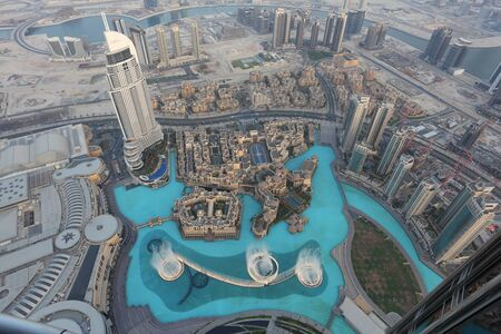 Dubai Fountain as seen from Burj Khalifa, Dubai United Arab  Emirates