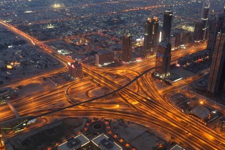 dubai city: Aerial view of a highway junction at night. Dubai, United Arab Emirates Stock Photo