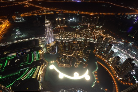 Aerial view of downtown Dubai at night photo