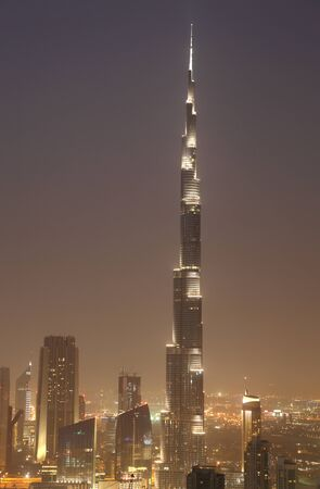Burj Khalifa at night. Dubai United Arab Emirates photo