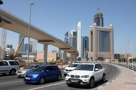 Cars on Sheikh Zayed Road in Dubai, United Arab Emirates. Photo taken at 27th of Mai 2011 Stock Photo - 10006717