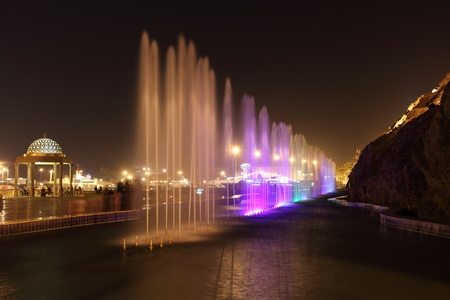 Fountains illumninated at night. Muscat, Sultanate of Oman. Photo taken at 9th of June 2011 Editorial
