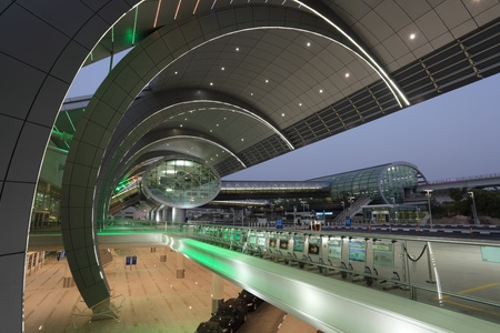 Futuristic architecture at the Dubai Airport Terminal 3. Photo taken at 5th of June 2011