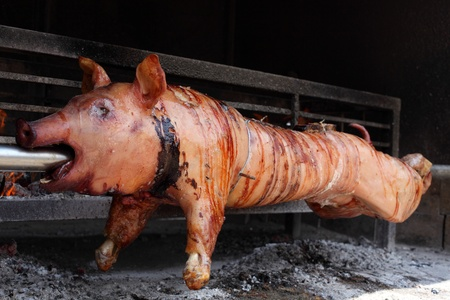 spit: Roast pig on a barbecue