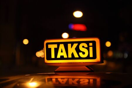 istanbul night: Yellow sign of the Istanbul taxi, Turkey