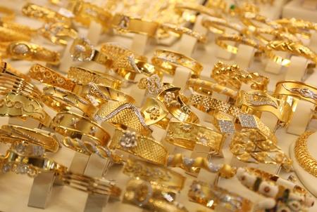 gold jewelry: Beautiful gold rings in a shop-window in Istanbul, Turkey