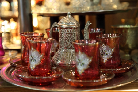 marketplace: Traditional Turkish tea set at Grand Bazaar in Istanbul