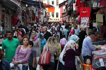 Crowded street in the city of Istanbul, Turkey. Photo taken at 21st of Mai 2011 Editorial