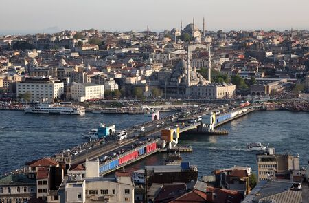 Istanbul view, with the Galata Bridge and the Blue Mosque, Turkey. Photo taken at 21st of Mai 2011