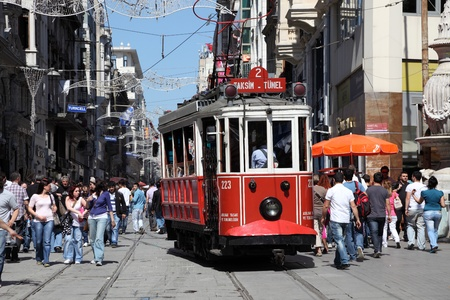 Old tram at Istiklal Avenue in Istanbul, Turkey. Photo taken at 22nd of Mai 2011