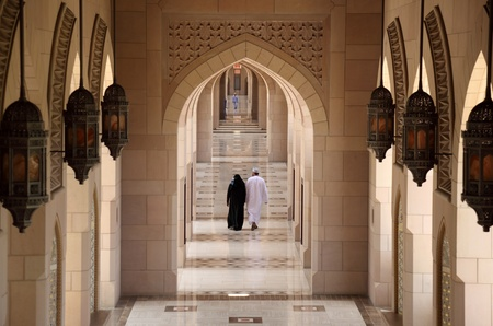 Oman: Archway in Sultan Qaboos Grand Mosque, Muscat Oman. Photo taken at 11th of June 2011 Editorial
