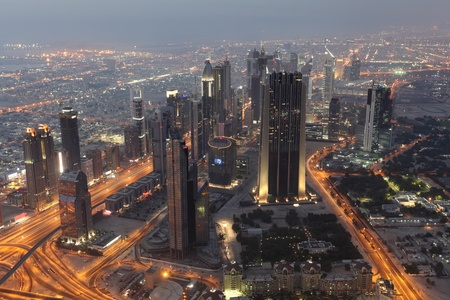 Skyscrapers at the Sheikh Zayed Road in Dubai, United Arab Emirates photo