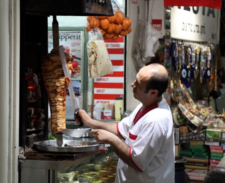 Turkish doner kebab vendor in an Istanbul restaurant, Turkey. Photo taken at 20th of Mai 2011 Editorial