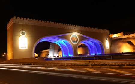 muttrah: Gate to Muttrah, Illuminated at night. Muscat, Sultanate of Oman