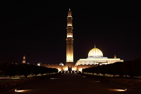 Sultan Qaboos Grand Mosque at night. Muscat, Oman Stock Photo - 10180280