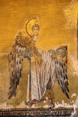 Ancient mosaic of an angel. Hagia Sophia Mosque, Istanbul