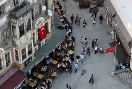Outdoor cafe in a street of Istanbul, Turkey. Photo taken at 21st of Mai 2011