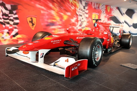 Formula One Racing Car in Ferrari World Theme Park in Abu Dhabi, United Arab Emirates. Photo taken at 1st of June 2011