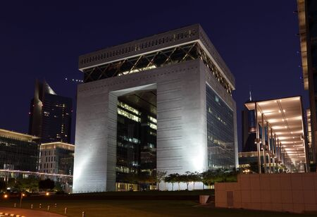 The Dubai International Financial Centre (DIFC) illuminated at night. Photo taken at 27th of Mai 2011
