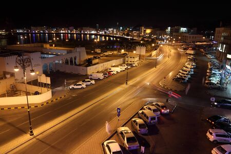 muttrah: Muttrah Corniche illuminated at night. Muscat, Sultanate of Oman. Photo taken at 10th of June 2011