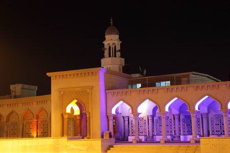 muttrah: Mosque illuminated at night, Muscat Sultanate of Oman Stock Photo