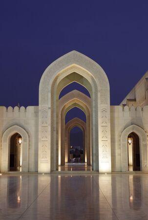 Oman: Sultan Qaboos Grand Mosque at night. Muscat, Oman