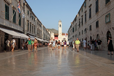 Stradun - main street in the old town of Dubrovnik.  Photo taken at 13th of July 2011