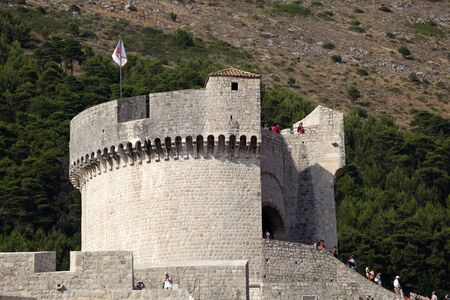 fortified wall: Fortified wall of Dubrovnik, Croatia. Photo taken at 13th of July 2011 Editorial