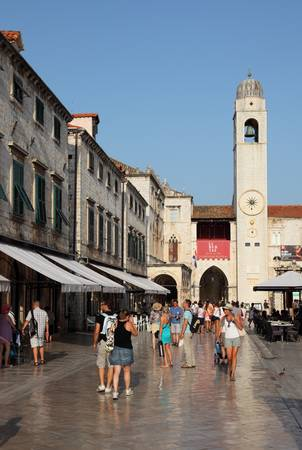 The main street in Dubrovnik old town - Stradun. Photo taken at 13th of July 2011