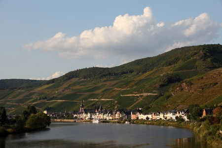View over town Zell at Mosel river, Germany photo