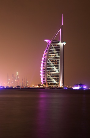 al: Burj al Arab illuminated at night, Dubai United Arab Emirates. Photo taken at 30th of Mai 2011 Editorial