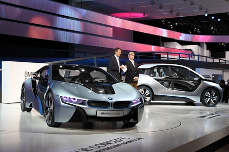 i3: FRANKFURT - SEPT 24: BMW electric concept cars i8 and i3 at the 64th IAA (Internationale Automobil Ausstellung) on September 24, 2011 in Frankfurt, Germany