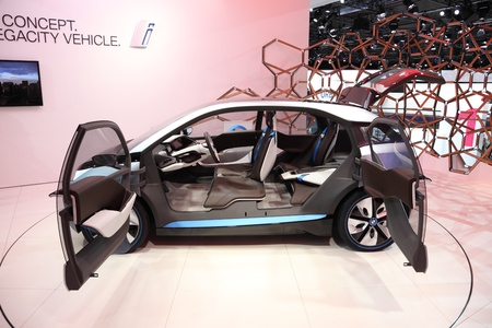 i3: FRANKFURT - SEPT 24: BMW electric concept car i3 at the 64th IAA (Internationale Automobil Ausstellung) on September 24, 2011 in Frankfurt, Germany