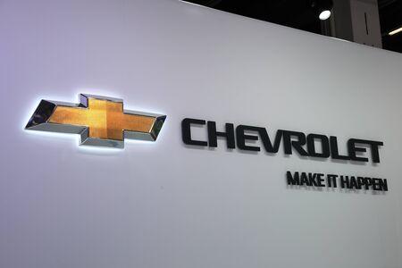 64th iaa:  FRANKFURT - SEPT 24: The Chevrolet Company Logo at the 64th IAA (Internationale Automobil Ausstellung) on September 24, 2011 in Frankfurt, Germany