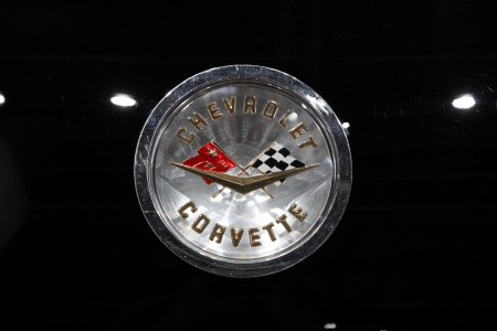 64th iaa: FRANKFURT - SEPT 24: The old Chevrolet Corvette Logo at the 64th IAA (Internationale Automobil Ausstellung) on September 24, 2011 in Frankfurt, Germany