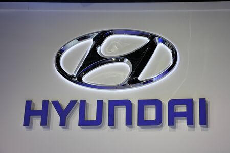 iaa: FRANKFURT - SEPT 24: The Hyundai Company Logo at the 64th IAA (Internationale Automobil Ausstellung) on September 24, 2011 in Frankfurt, Germany Editorial