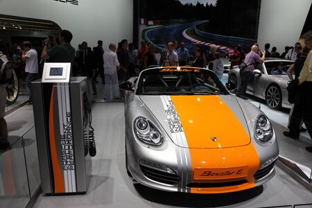 64th iaa: FRANKFURT - SEPT 24: The New Porsche Boxster E Concept at the 64th IAA (Internationale Automobil Ausstellung) on September 24, 2011 in Frankfurt, Germany