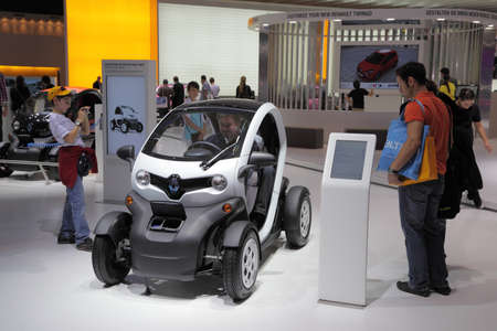 twoseater: FRANKFURT - SEPT 24: The New Electric two-seater Renault Twizy at the 64th IAA (Internationale Automobil Ausstellung) on September 24, 2011 in Frankfurt, Germany