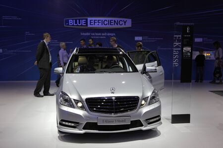 64th iaa: FRANKFURT - SEPT 24: Mercedes Benz New E Class Blue Efficiency at the 64th IAA (Internationale Automobil Ausstellung) on September 24, 2011 in Frankfurt, Germany